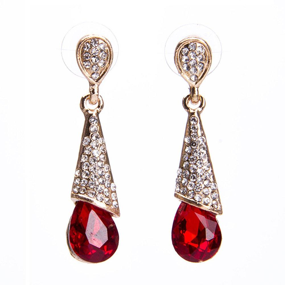 Cdet Earrings Woman Bohemian Style Waterdrop Crystal Diamond Long Pendant Ear Studs Dangle Lady Earring Jewelry Accessories Love Gift (Blue)
