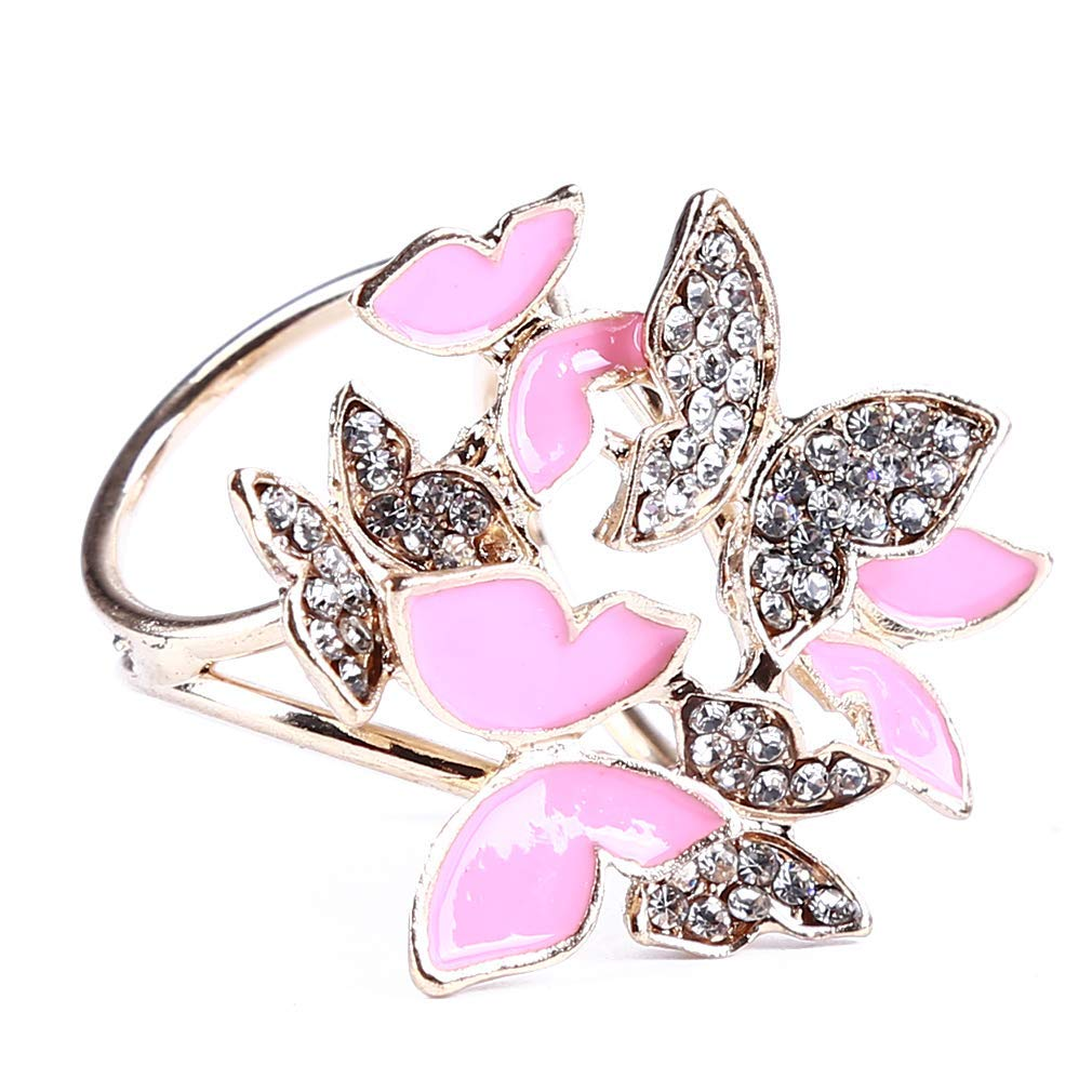 Yevison Premium Quality Scarf Clip Women's Elegant Butterfly Design Three-ring Scarves Buckle Fashionable Buckle Holder Ring,Gold + pink