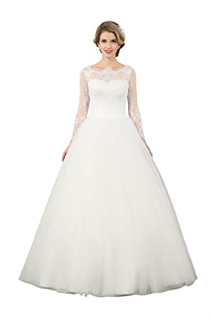 Vintage Modest Long Sleeved Full Back Lace Top Ball Gown Tulle ...