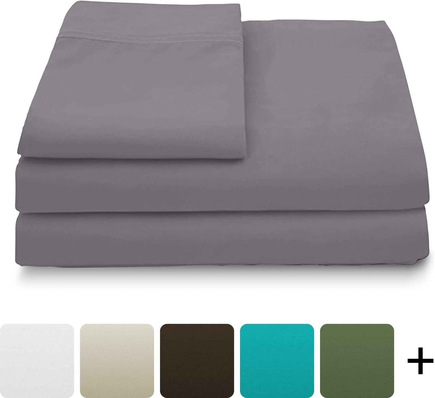 Cosy House Collection Luxury Bamboo Bed Sheet Set - Hypoallergenic Bedding Blend from Natural Bamboo Fiber - Resists Wrinkles - 4 Piece - 1 Fitted Sheet, 1 Flat, 2 Pillowcases - Full, Grey