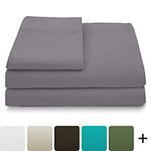 Cosy House Collection Luxury Bamboo Sheets - 5 Piece Bedding Set - High Blend from Natural Bamboo Fiber - Soft Wrinkle Free Fabric - 2 Fitted Sheets, 1 Flat, 2 Pillow Cases - Split King, Grey