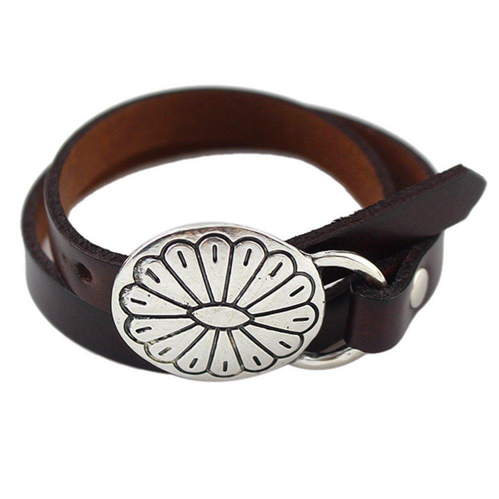 Feelontop® New Black Coffee PU Leather Wrap Bracelet with Jewelry Pouch BR-3915