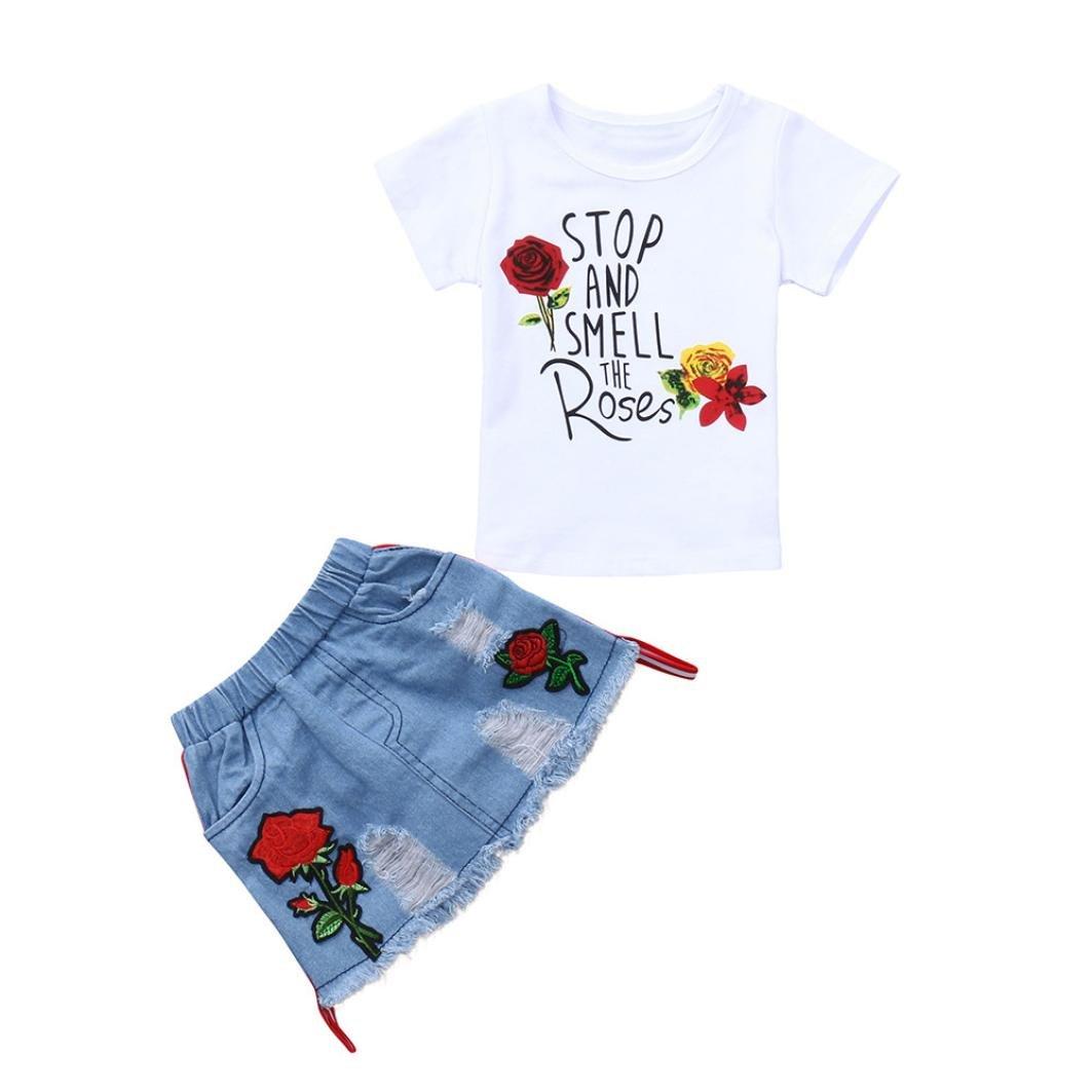 Ensembles de Bébés Filles, Paolian Été 2PC T-shirt imprimée + Jupes en denim pour 18M-4 ans