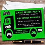 10 x Green Game Truck Gaming Personalized Childrens Birthday Party Invitations