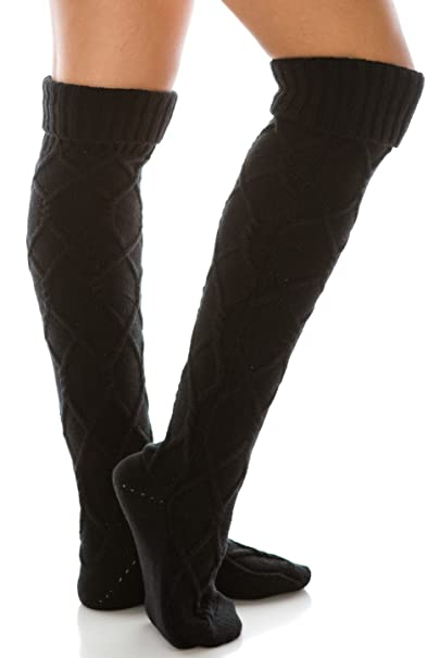 a3e09ef3b26 Amazon.com  Diamond Knit Extra Long Boot Socks