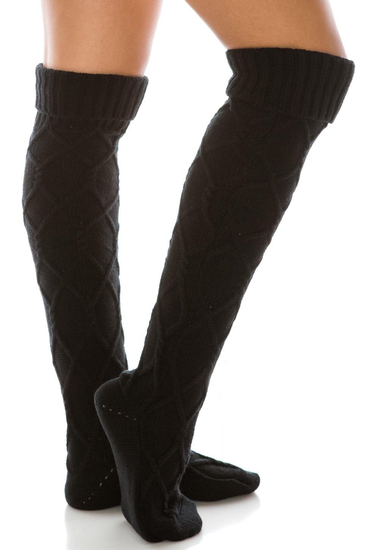 HatQuarters Diamond Knit Extra Long Boot Socks, Knee High Warm Solid Color Cuffed Leg Warmers (Black)