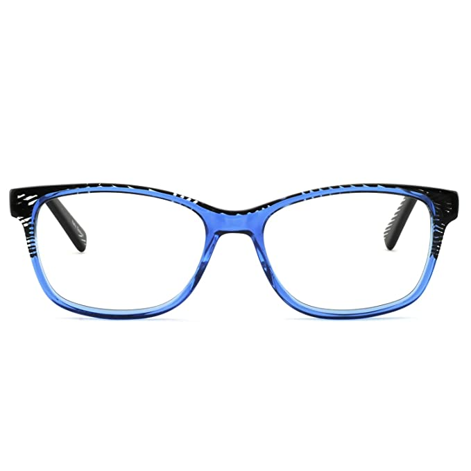 b5d2170c0c8 OCCI CHIARI Eyeglasses Frames Non-Prescription Fashion Clear Lens Eye  Glasses Designer for Womens(Black Stripe Blue
