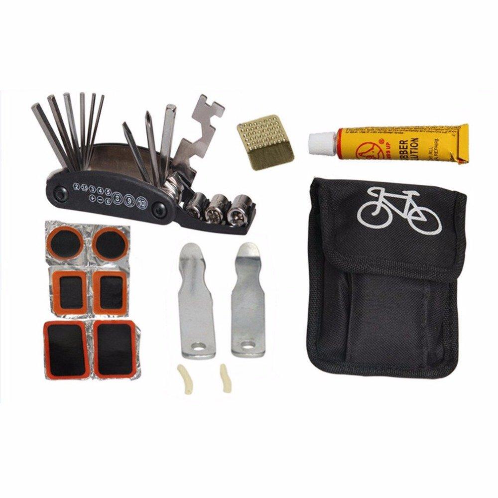 Bike Bicycle Tire Repair Tools Kit Set Bag Multitool Service Folding Hex Wrench Tool