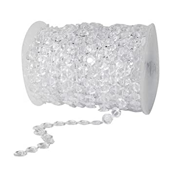 Amazon unilove 99ft acrylic plastic crystal clear beads string amazon unilove 99ft acrylic plastic crystal clear beads string for chandelier curtains for doorways decoration 1 roll type 1 home kitchen aloadofball Image collections