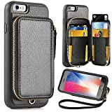 iPhone 6 Plus Wallet Case, iPhone 6 Plus Card Holder Case, ZVE iPhone 6 Plus Leather Cases with Credit Card Slot & Zipper Wallet Purse, Protective Cover for Apple 6 Plus/Apple 6s Plus- Black