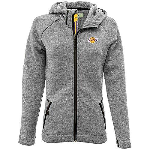Levelwear LEY9R NBA Los Angeles Lakers Adult Women Motion Banner Stripe Full Zip Hooded Jacket, X-Large, Heather ()