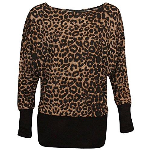 a manica Maglia Leopard Maniche Donna lunghe Janisramone lunga Brown wEH5dPq