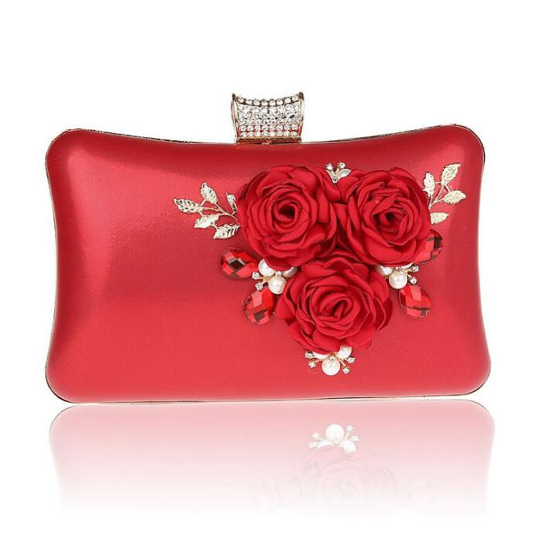 EPLAZA Women Large Capacity Flora Evening Clutch Bags Wedding Party Purse Handbags Wallet (red)
