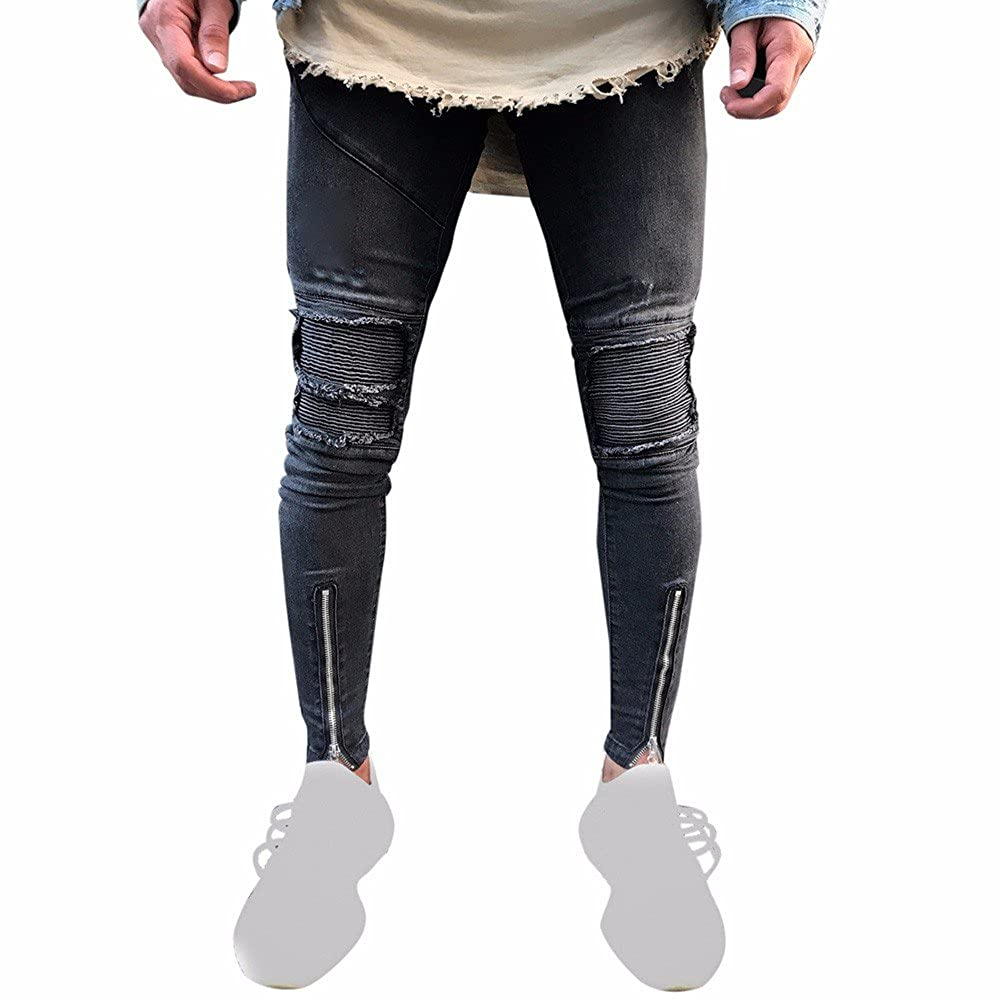 Men Jeans Allywit Biker Moto Skinny Ripped Distressed Destroyed Fit Denim Jeans