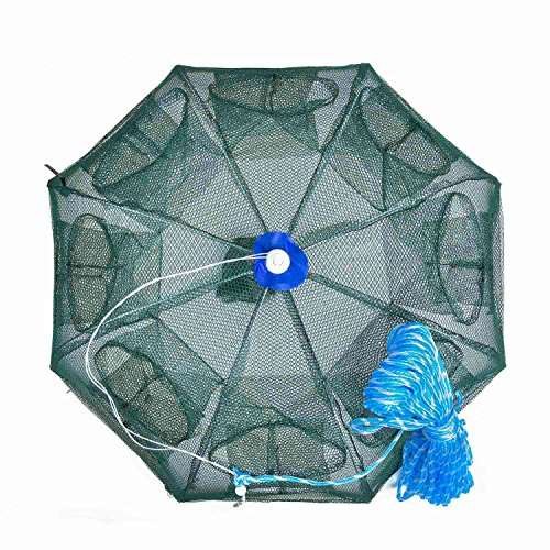 Fish Crab - Goture Portable Folded Fishing Net Fish Shrimp Minnow Crayfish Crab Baits Cast Mesh Trap Automatic (Automatic 8 Sides 16 Holes with 100 Feet Rope)
