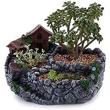 "T4U 9""Country Landscape Style House&Fields Sucuulent Cactus Plant Pots Flower Pots Planters DIY Containers Window Boxes Grey"