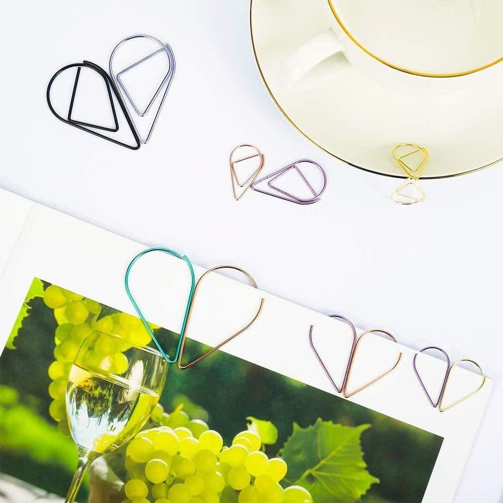 de Clip de Papel de Multicolor para Materiales de Escuela Oficina Tipo de gota de metal 100 unidade Clips de papel peque/ños 16 * 25mm