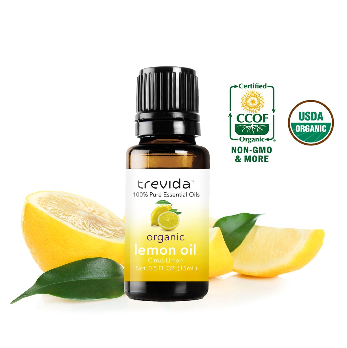 Trevida USDA Organic Lemon Essential Oil | From Fresh Italian Lemon Peels | Bottled in the USA | 15 ML | 100% Pure | Must Have for Aromatherapy, Organic Cleaning, Scented Candles, DIY & More.