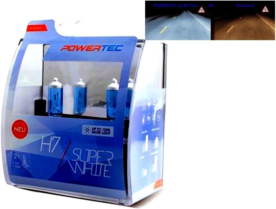 2x Halogen H7 55w 12v Powertec By M Tech Super White Xenon Effekt Optik Bis 100 Mehr Licht Glühbirne Ptzsw7 Duo Auto Birnen Xenon Style Autolampen 2er Set Mit E Prüfzeichen Px26d Auto
