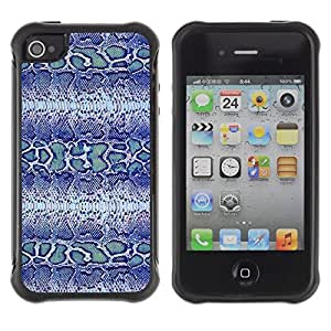 LASTONE PHONE CASE / Suave Silicona Caso Carcasa de Caucho Funda para Apple Iphone 4 / 4S / Blue Snake Pattern Fabric Textile Design