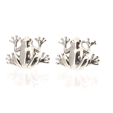 Sterling Silver Frog Design Stud earrings Fi24qK