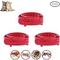 QYTX 3PCS Flohhalsband für Katzen, Silikon verstellbares, Rot einstellbares Haustier-Katzen-Anti-Flohmilben-Kragen-Mittel Katzenhalsband Heimtierbedarf Schutz für Katzen-Kätzchen-Welpen