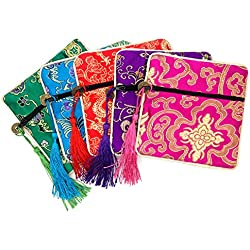 5 Pcs Silk Brocade Jewelry Pouches Coin Purses Gift Bag Dice Bag with Zipper (Green#Blue#Red#Purple#Hot Pink)