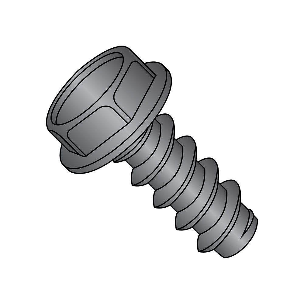 1//2 Length Black Oxide Finish Hex Washer Head Steel Sheet Metal Screw Hex Drive Type B Pack of 100 #8-18 Thread Size