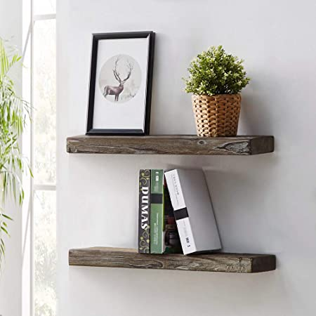 HSH Rustic Solid Wood Floating Shelf, Rugged Reclaimed Wooden Wall Shelf, Industrial Vintage Farmhouse Mount Shelving, Natural Pine, 24 x 7.1 Inch, Set of 2