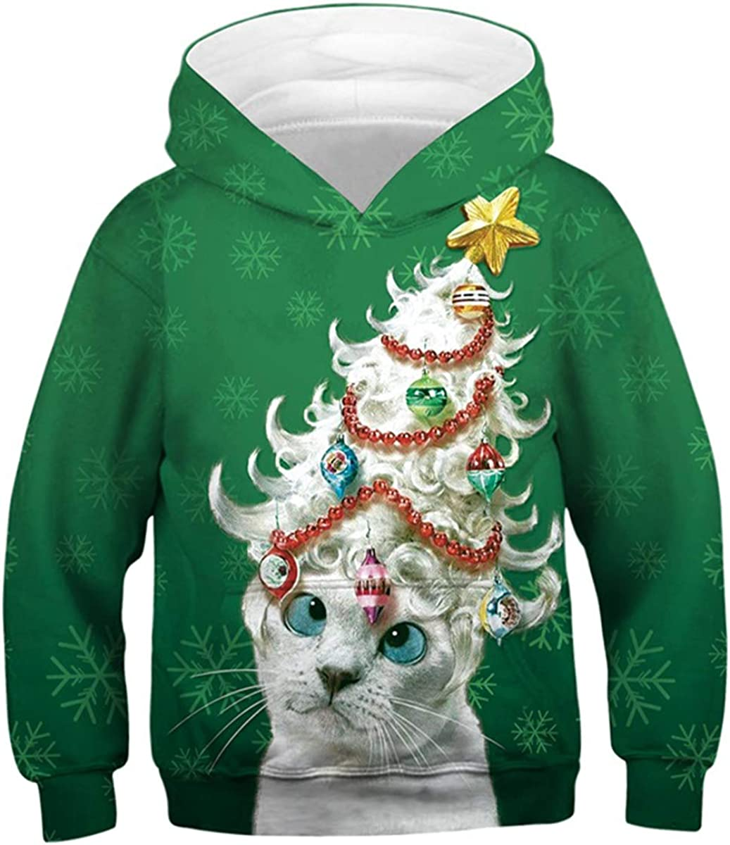 ALISISTER Unisex 3D Hoodies for Kids Funny Printed Pullover Hooded Sweatshirt Pockets Age 4-13