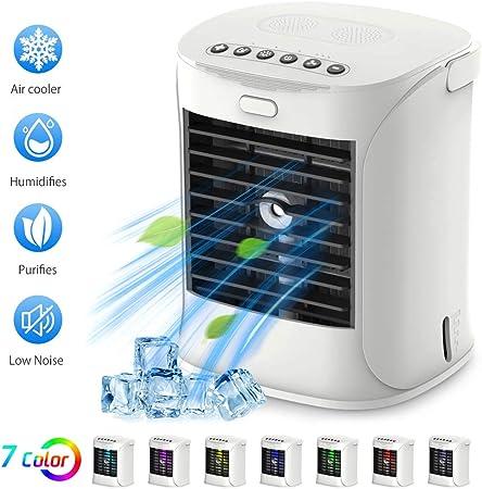 Air Cooler Condizionatore Portatile Raffreddatore Daria Purificatore daria USB Climatizzatore con Raffreddamento ad Acqua per Casa//Ufficio Senza Freon bianco