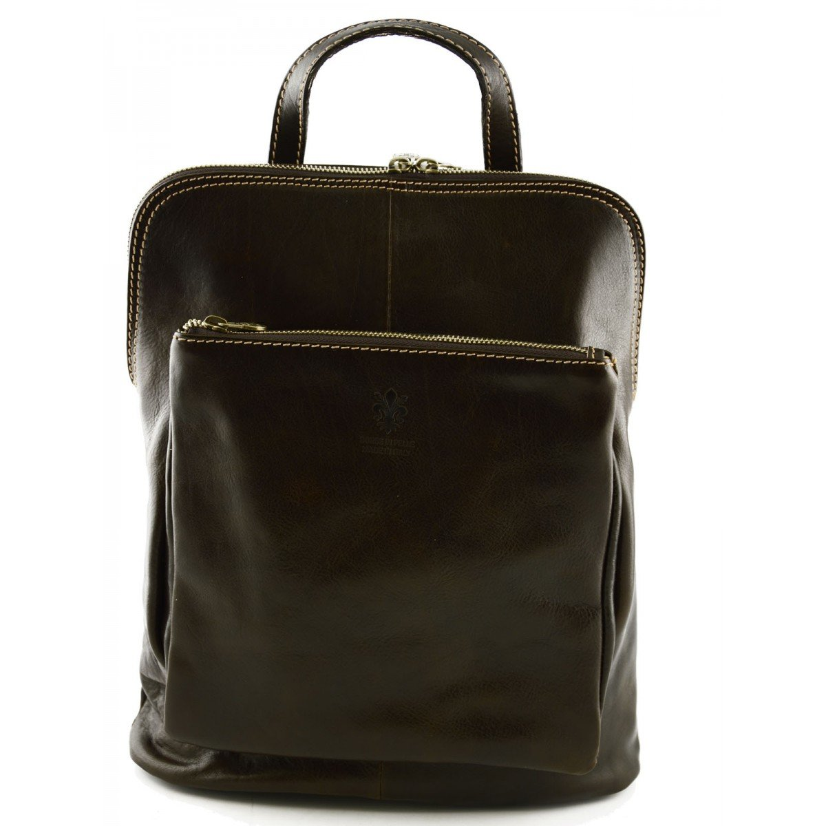 Genuine Leather Backpack Shoulder Bag Color Dark Brown
