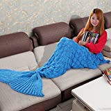 Balichun Knitted Scale Mermaid Tail Blanket for Adult/Teen(Blue,31.5x75 inch)