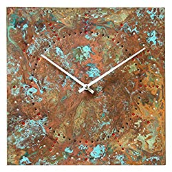 Large Square Copper Rustic Wall Clock 12-inch - Silent Non Ticking Gift for Home/Office/Kitchen/Bedroom/Living Room