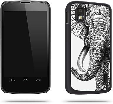 Negro elefante indio dibujo Cool carcasa para Google Nexus 4 ...