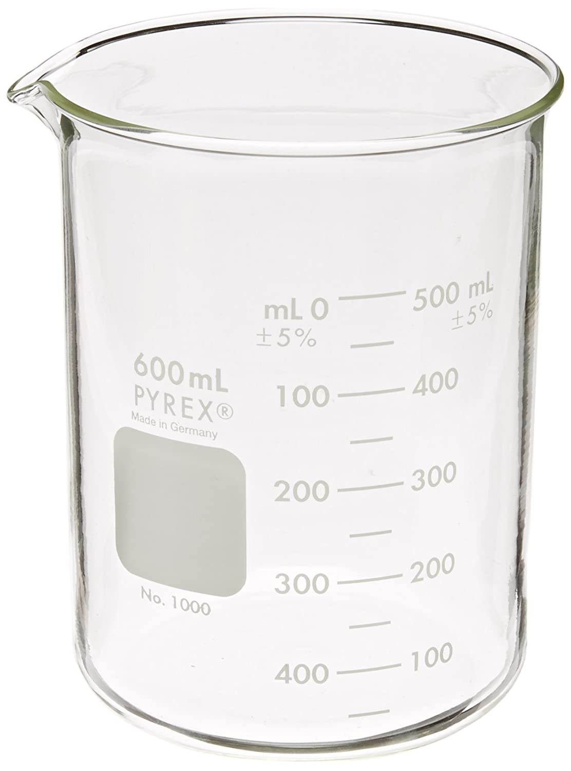 Corning Pyrex 1000-600 Glass 600mL Graduated Low Form Griffin Beaker, 50mL Graduation Interval, with Double Scale: Industrial & Scientific