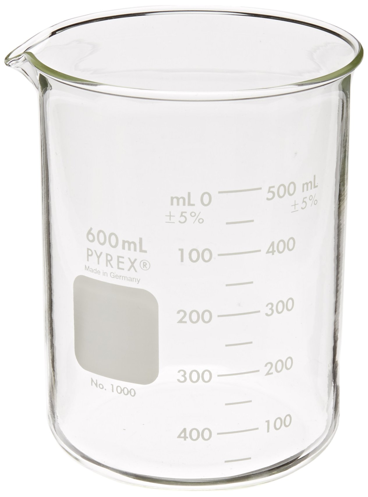 Corning Pyrex 1000-600 Glass 600mL Graduated Low Form Griffin Beaker, 50mL Graduation Interval, with Double Scale by Corning