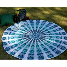 Yoga Mat Round Mandala Beach Throw Blanket Green Peacock Round Table Cloth Summer Picnic Throw Cotton Circle Beach Towel Round Throw Roundie Indian Decor Boho Design Roundy Tapestry Gift By Rajrang