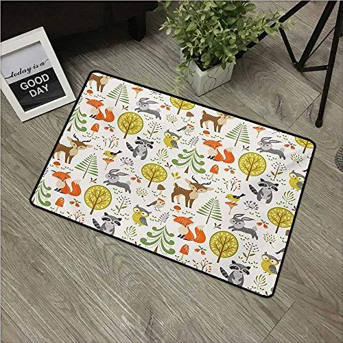 HRoomDecor Animals,Funny doormats Woodland Forest Animals Trees Birds Owls Fox Bunny Deer Raccoon Mushroom Print W 16