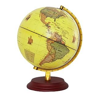 KESOTO 23cm Illuminano in Legno Base in Metallo Stand Geografico Mondo Globo Mappa Giallo