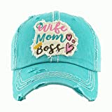 HBS001 Wife, Mom, Boss Blue-Green Washed Vintage Baseball Cap.