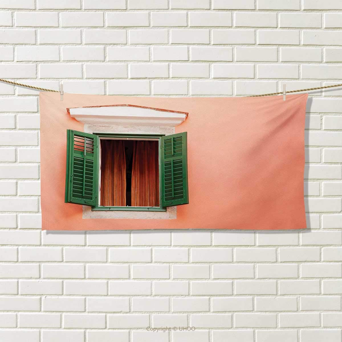 Chaneyhouse Country,Travel Towel,Mediterranean Style Image of Window and Shutters Old House Rural Rustic,100% Microfiber,Orange Green White Size: W 12'' x L 27.5''
