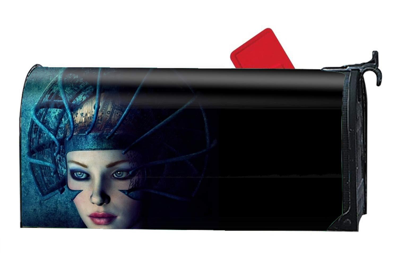FANMIL Fantasy Women Girl Hat Blue Face Mailbox Covers Fairy Garden - Vinyl Magnetic Cover