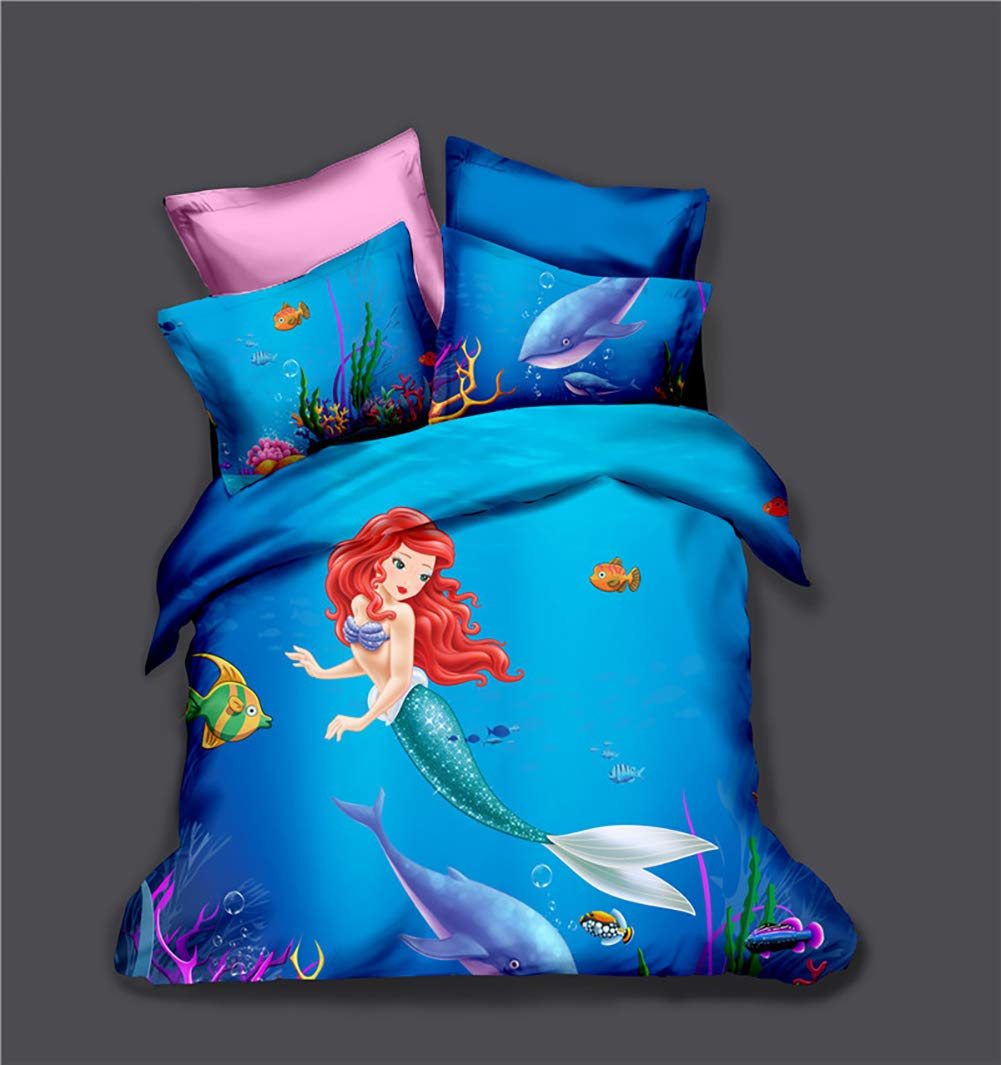 ViewHuge 3 Pieces Bedding Sets Blue/Purple Mermaid Duvet Cover Set with 2 Pillow Shams by ViewHuge