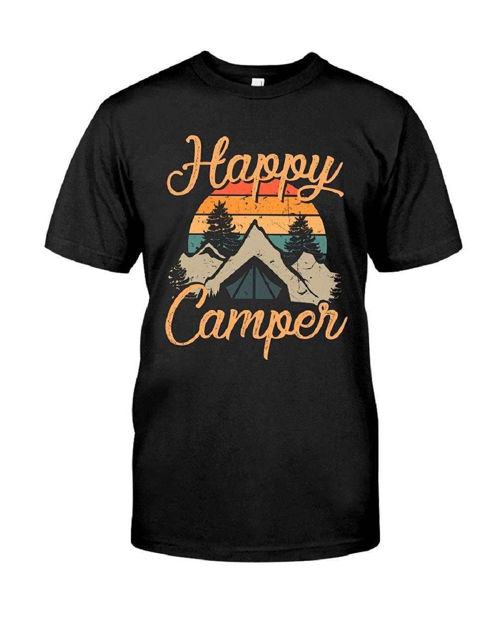 Happy Camper T Shirt For Funny Letter Print Short Sleeve Tees Tops Beeshirt