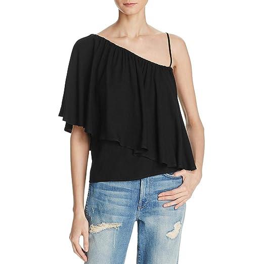 ca67a97c526 Amazon.com: Ella Moss Womens Ruffled One Shoulder Casual Top Black M:  Clothing