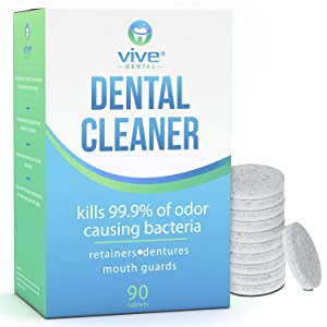 Vive Dental Retainer & Denture Cleaner Tablets (90 Ct) - For Mouthguard, Night Guard, Removable Partial or Full False Teeth - Overnight, Antibacterial Cleanse - Cleaning Removes Stains, Plaque, Odor