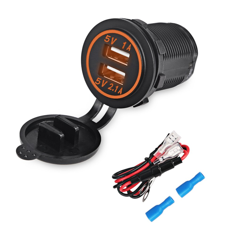 WATERWICH 5V 3.1A Marine Dual USB Car Charger Adapter Socket Waterproof with In-line Fuse and Digital Voltmeter For Universal Rocker Switch Boat RV Vehicle SUV Truck Yacht (3.1A with Orange LED Light) DS2032