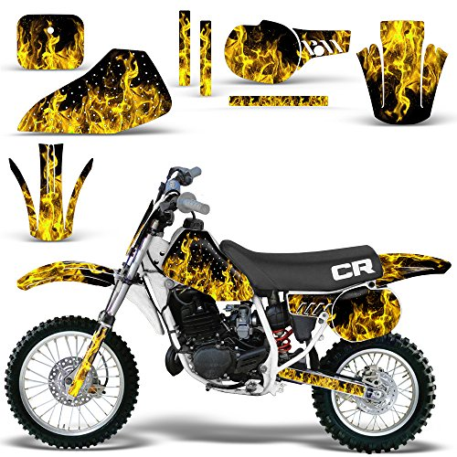 Honda CR 60 R 1984-1985 Graphic Kit MX Stickers Dirt Pit Bike Decals CR60 FLAMES YELLOW - Custom Pit Bike Graphics Kit