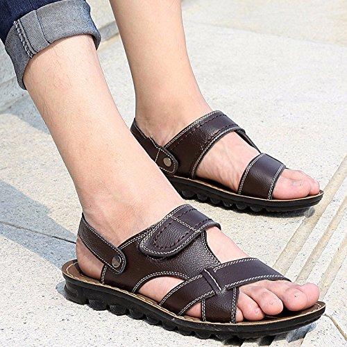 estate Uomini sandali Tempo libero scarpa Spiaggia scarpa pelle sandali vera pelle sandali Uomini scarpa tendenza Doppio uso sandali ,Marrone 1,US=9,UK=8.5,EU=42 2/3,CN=44